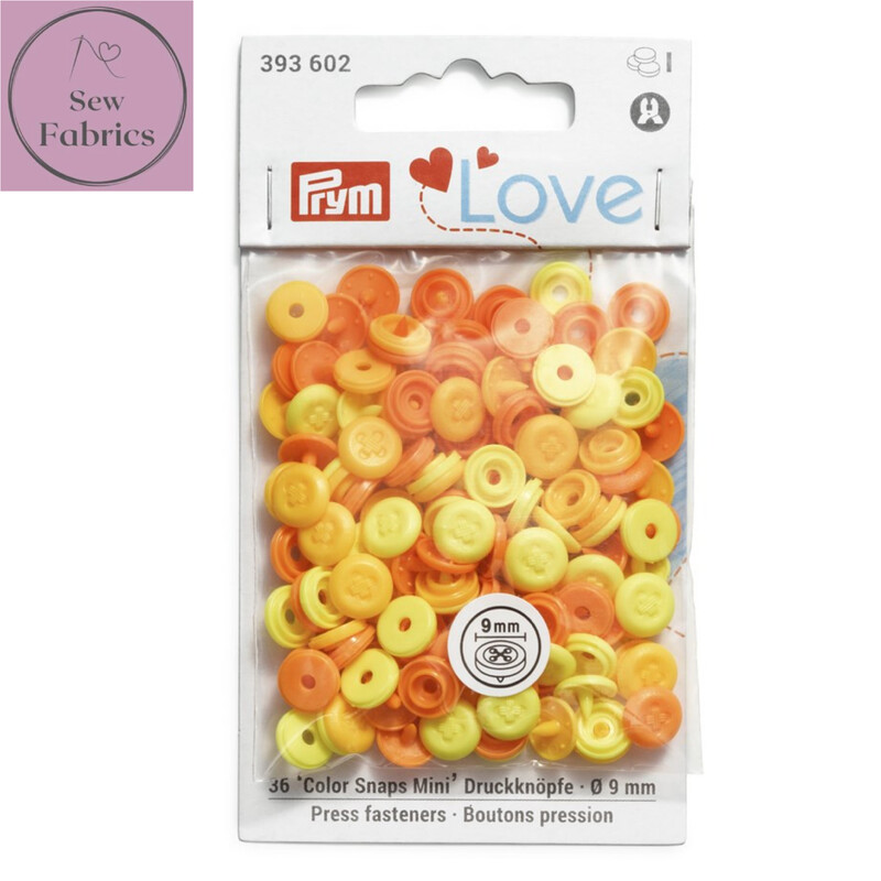 Pale Yellow Prym Love Mini Colour Snaps / Press Fasteners, Pale Yellow Press Studs for Dressmaking and Crafting, Pack of 36 pieces in 9mm.