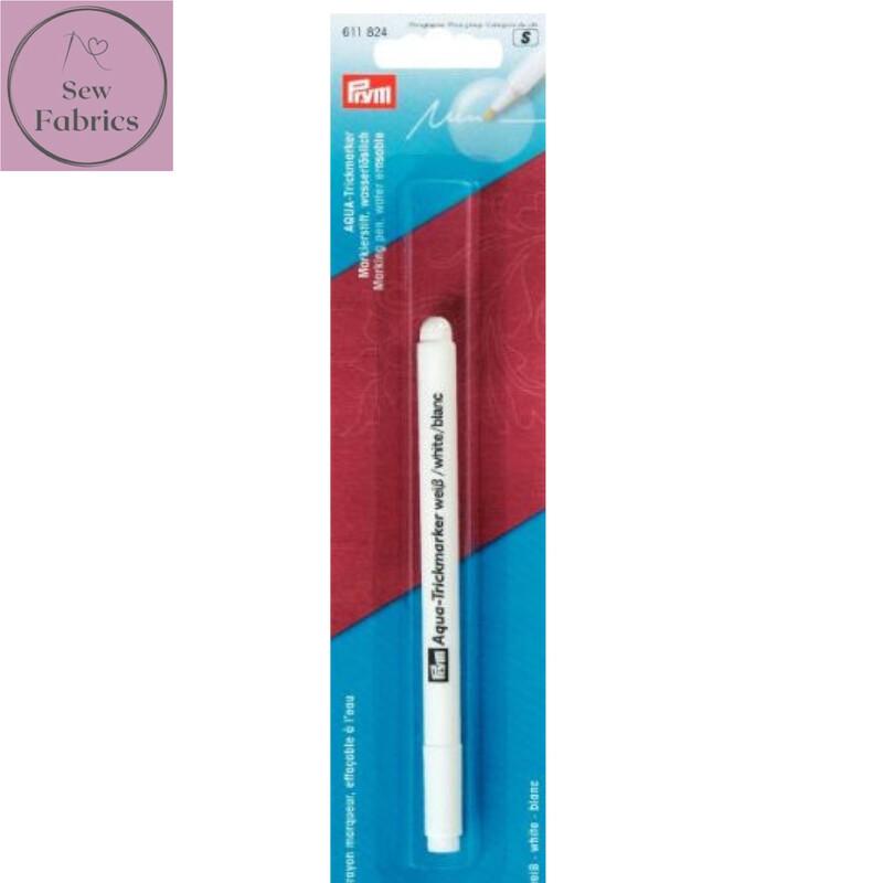 Prym Aqua Marking, Water Erasable Marker Pen - White