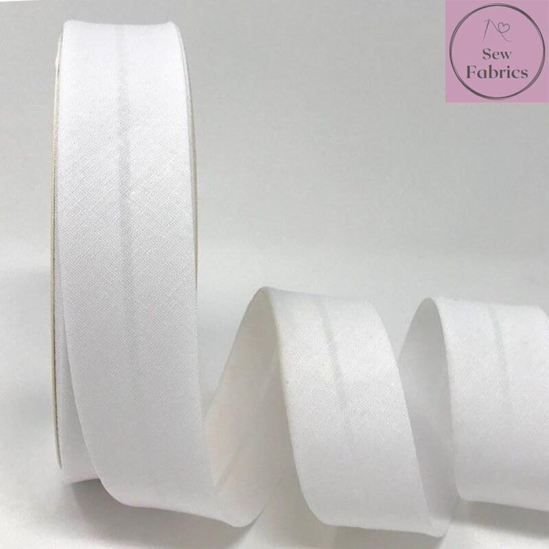 White Plain Polycotton Bias Binding 30mm