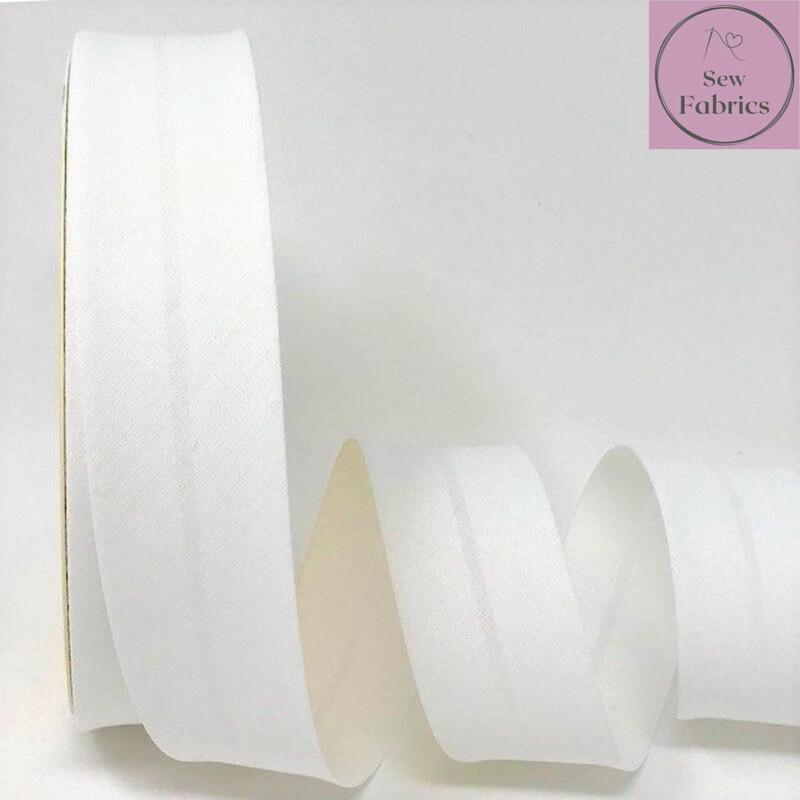 Bridal White Plain Polycotton Bias Binding 30mm