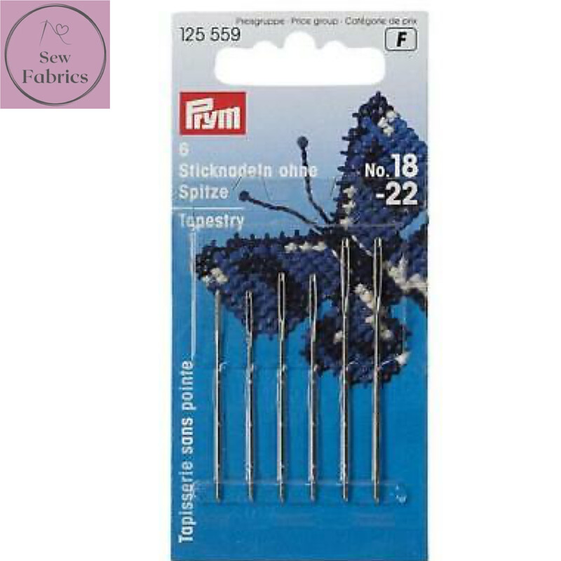 Prym Embroidery Assorted Needles Tapestry blunt point No. 18-22 silver colour with gold eye