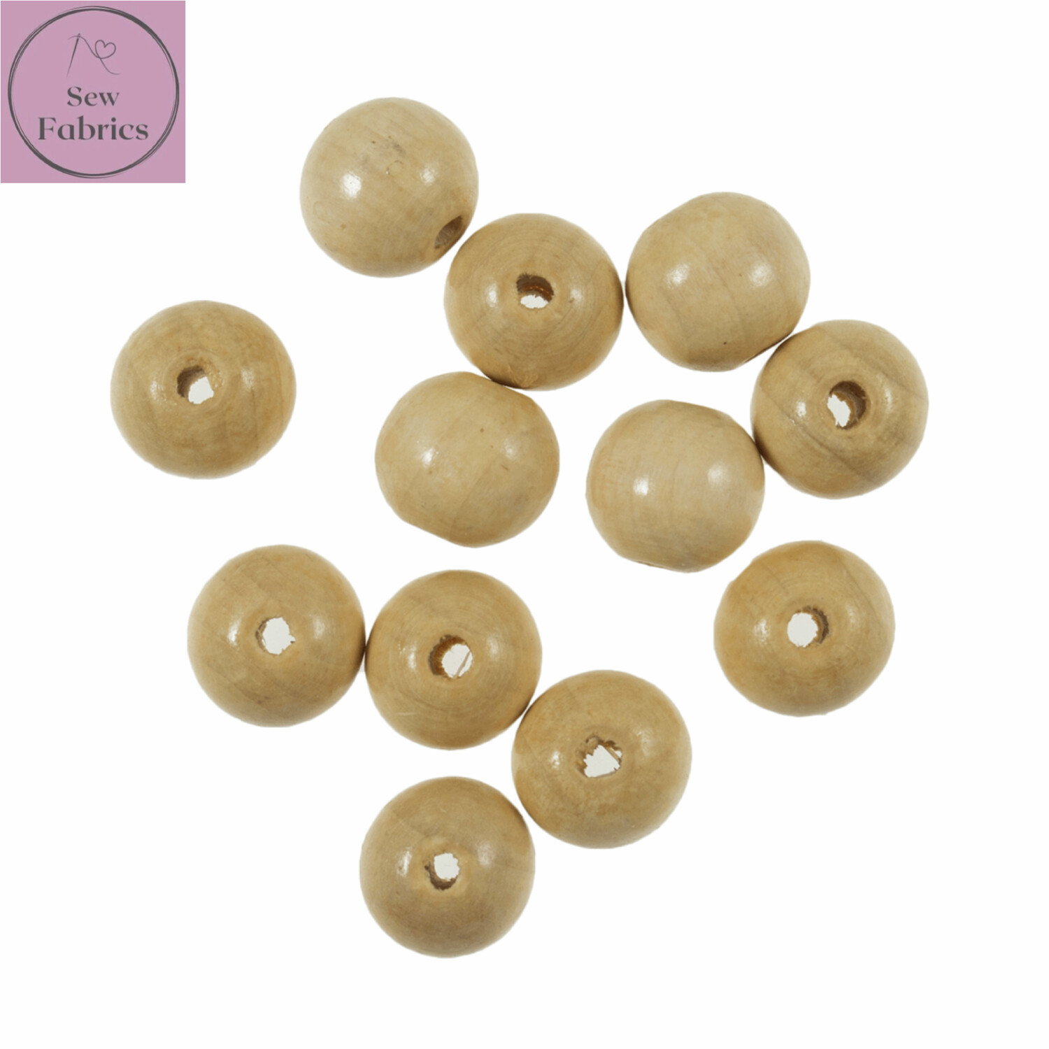 Pack of 12 x 15mm Trimits Wooden Beech Beads, Macrame, Decorations