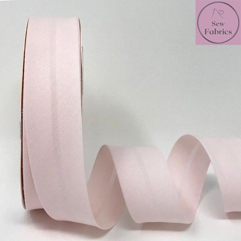Pale Pink Plain Polycotton Bias Binding 30mm