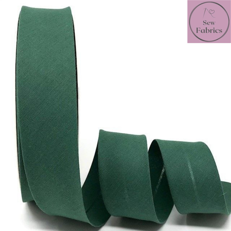 Deep Green Plain Polycotton Bias Binding 30mm