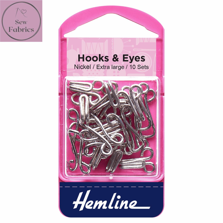 Hemline Nickel Coated Hooks and Eyes, Size 9 Extra Large, Pack of 10 sets