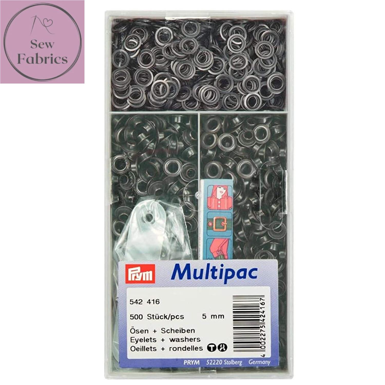 Prym 5mm Eyelets with Washers in Black Onyx, 500 Piece Box
