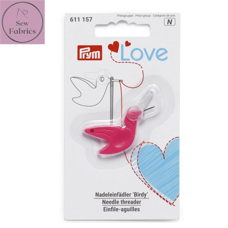 Prym Love 'Birdy' Needle Threader, Sewing, Dressmaking, Quilting Accessory, Pink