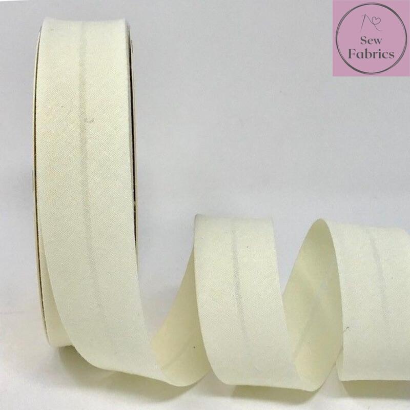Cream Plain Polycotton Bias Binding 30mm width