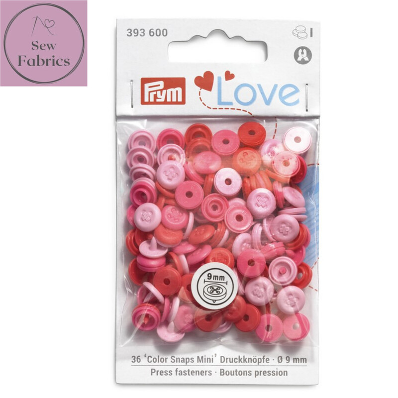Pale Pink Prym Love Mini Colour Snaps / Press Fasteners, Pale Pink Press Studs for Dressmaking and Crafting, Pack of 36 pieces in 9mm.
