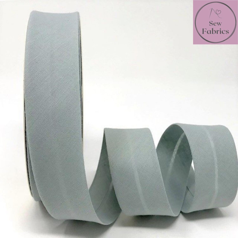 Metal Grey Plain Polycotton Bias Binding 30mm