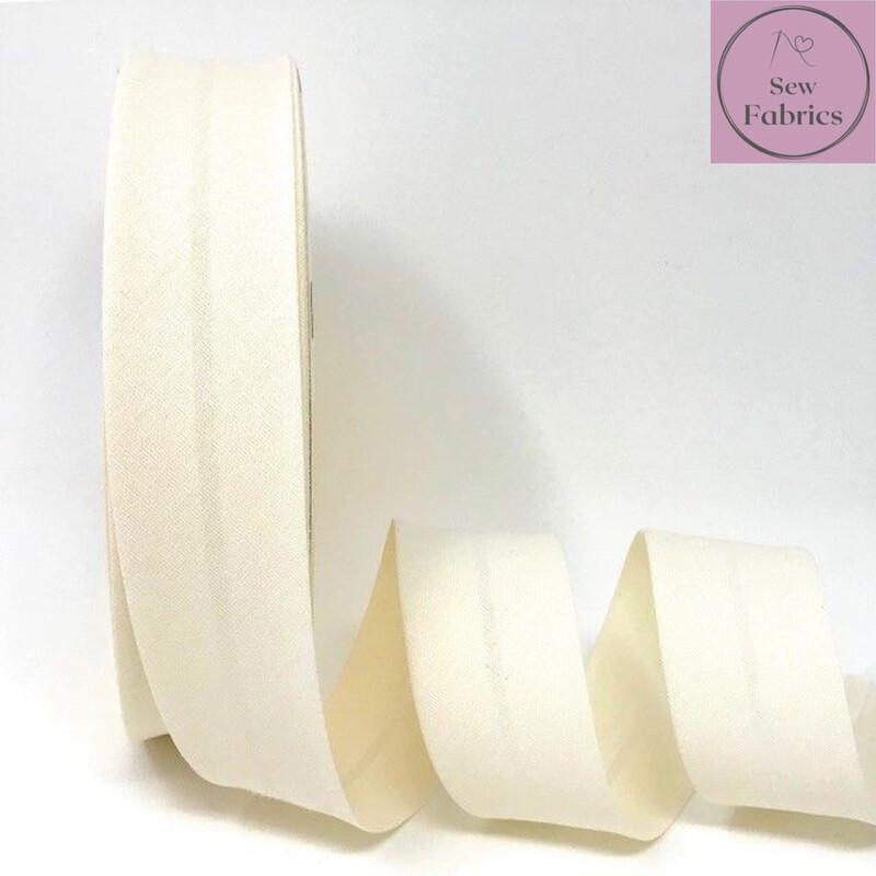Ivory Plain Polycotton Bias Binding 30mm width