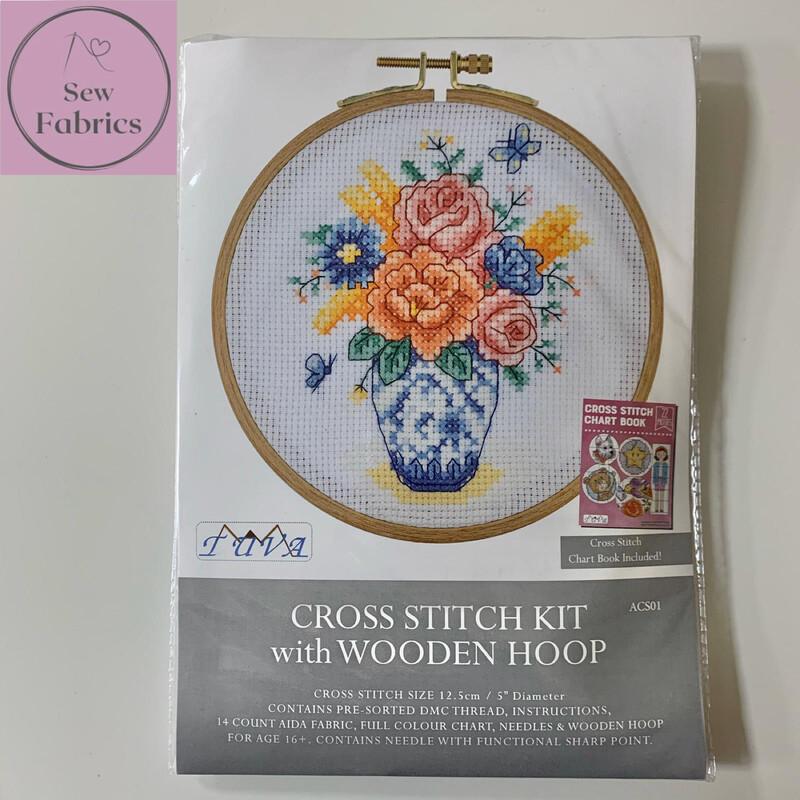 Butterflies and Blooms DMC Cross Stitch Hoop Kit ACS01