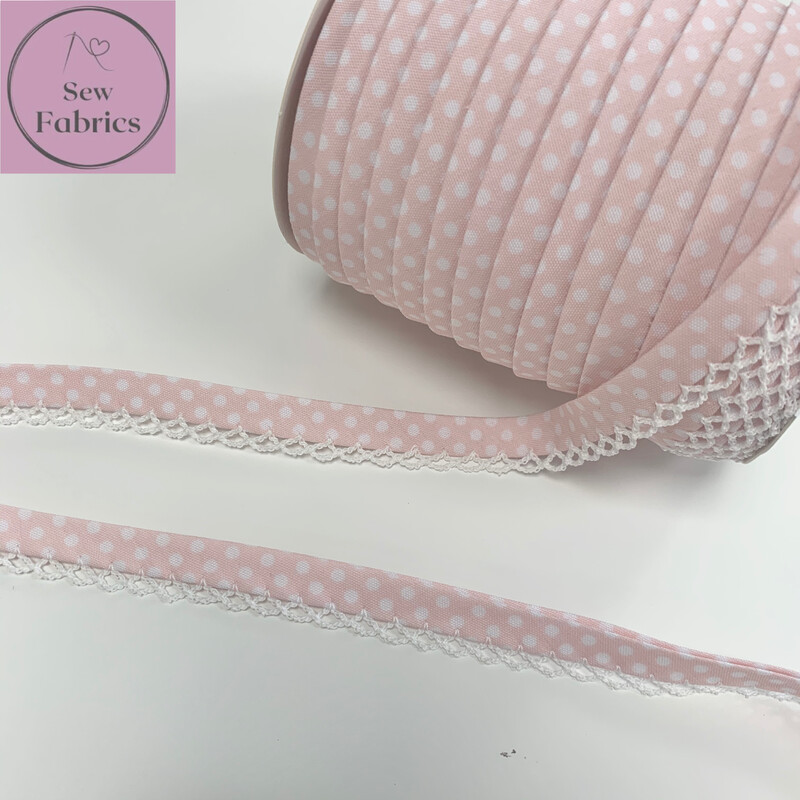 12mm Pale Pink with White Polka Dots Pre-Folded Bias Binding with Lace Edge x 25mts Reel
