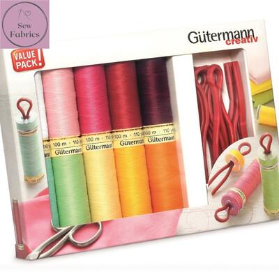 Gutermann Sew-All Assorted Sewing Thread Set 100mtr x 10 reels PLUS 10 x Prym Bobbin clips