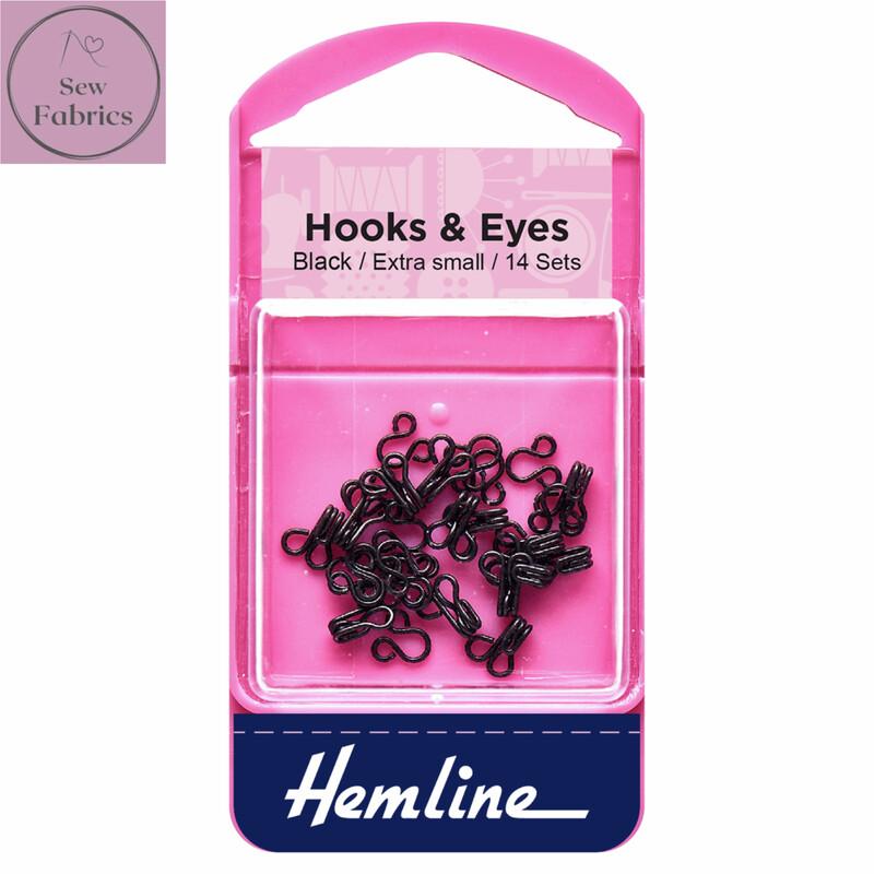 Hemline Black Coated Hooks and Eyes, Size 0, Extra Small, Pack of 14 sets