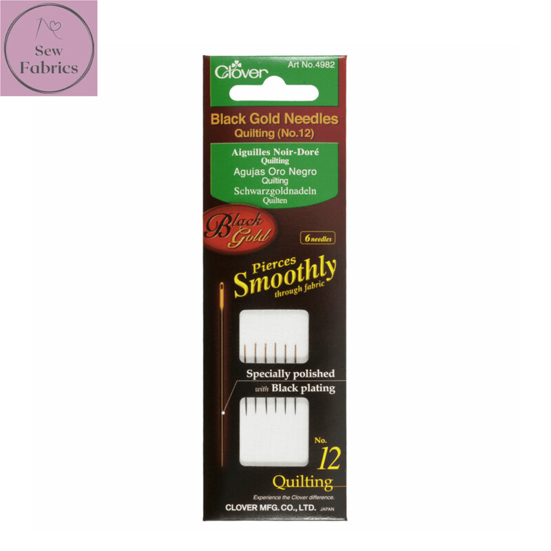 Clover Set of 6 Assorted Quilting Sewing Needles in Black and Gold, No. 9-10-12