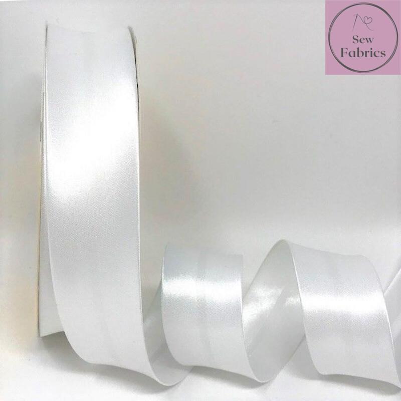 25 metres reel of White 002 Plain Satin Bias Binding 30mm