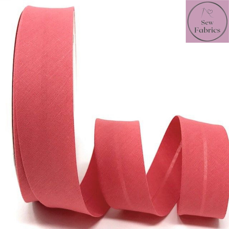 Rose Pink Plain Polycotton Bias Binding 30mm