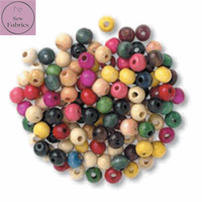 Pack of 150 x 8mm Trimits Assorted Wooden Beads, Macrame, Decorations