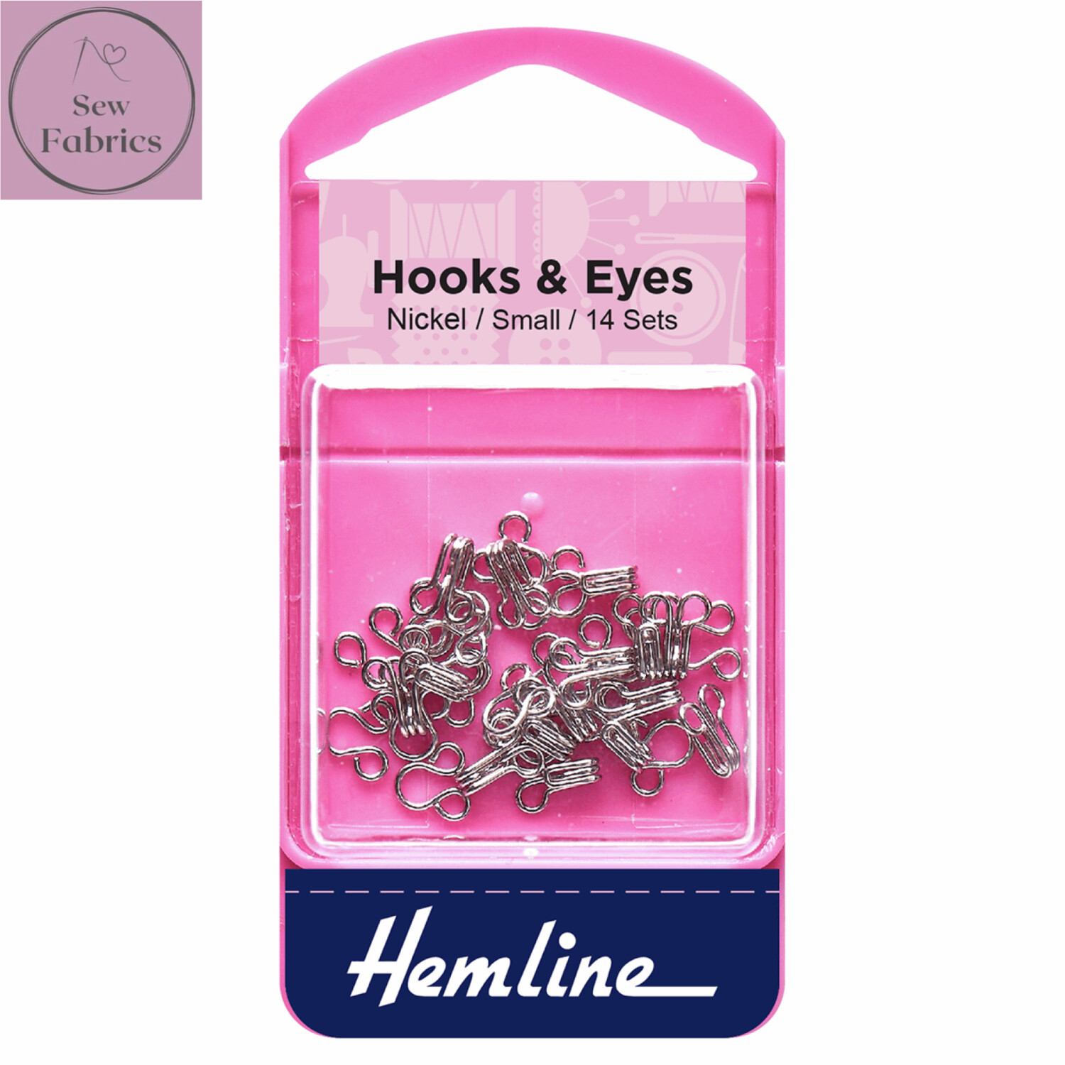 Hemline Nickel Coated Hooks and Eyes, Size 1, Small, Pack of 14 sets