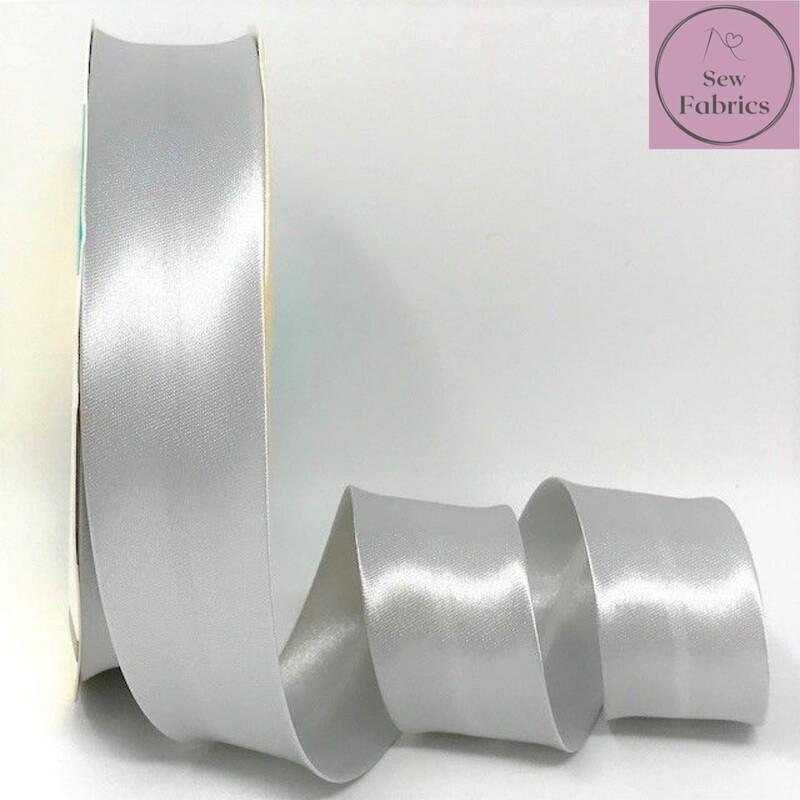 25 metres reel of Silver Grey 008 Plain Satin Bias Binding 30mm