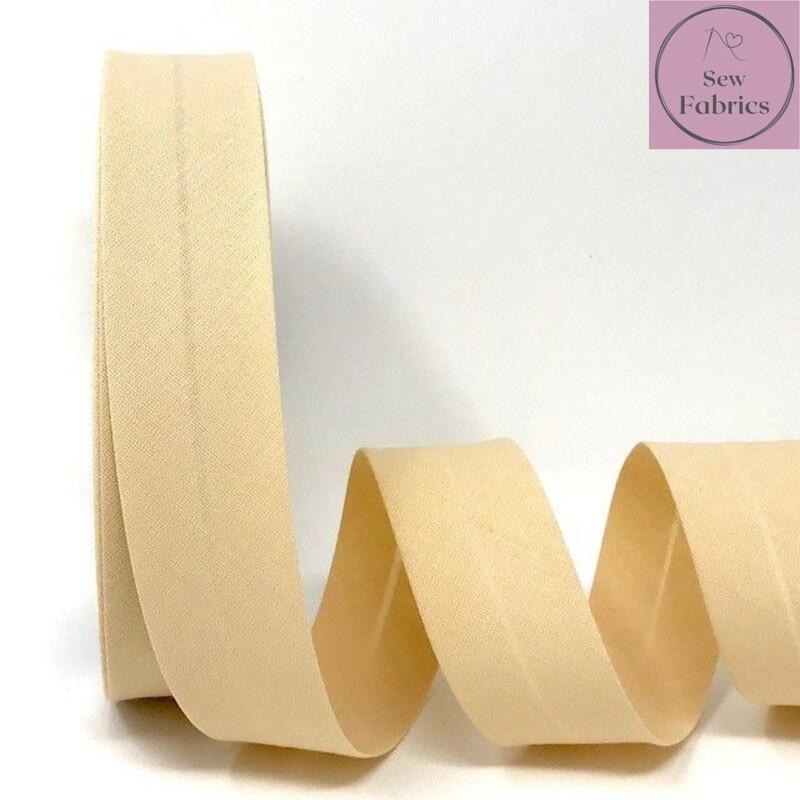 Beige Plain Polycotton Bias Binding 30mm width