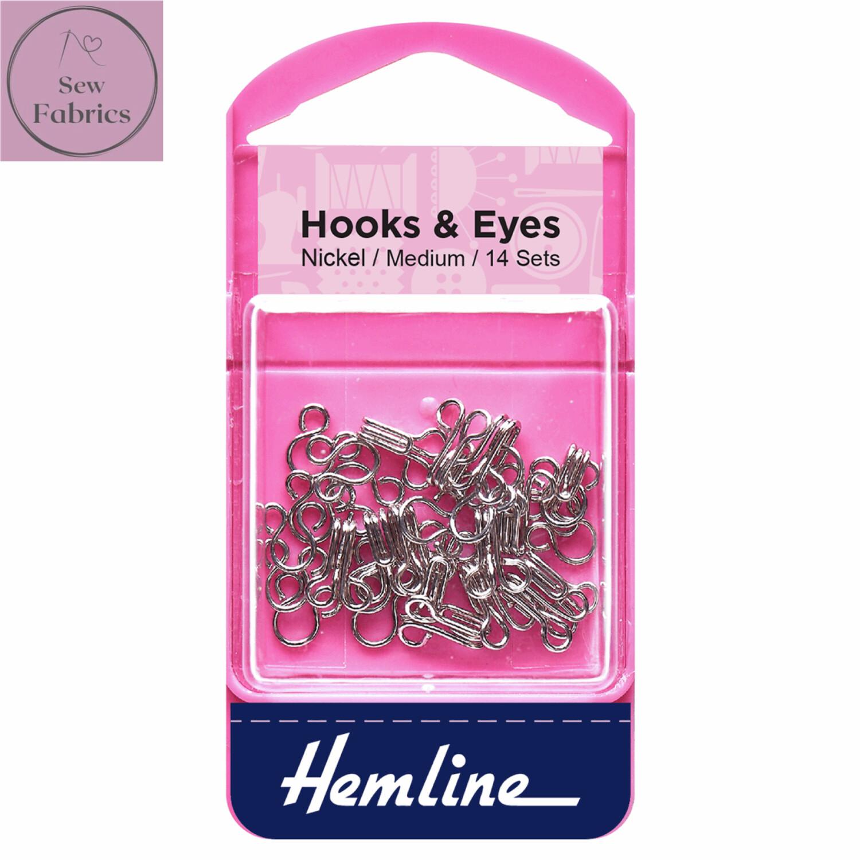 Hemline Nickel Coated Hooks and Eyes, Size 2, Medium, Pack of 14 sets
