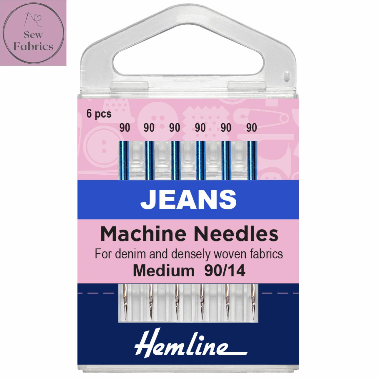 Hemline Jeans Sewing Machine Needles, Medium/Heavy 90/14, Pack of 6