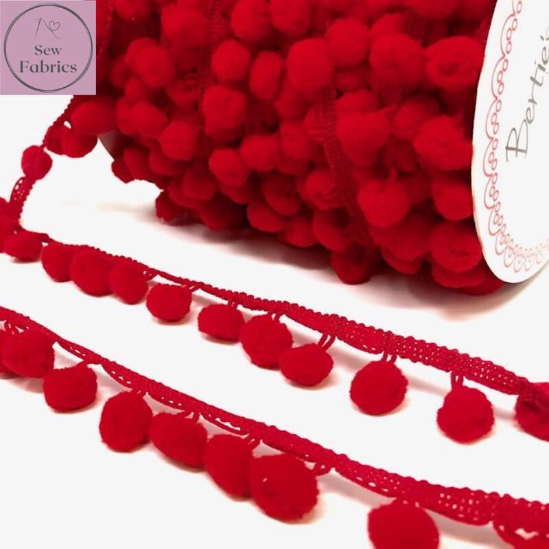 Bertie's Bows Red 15mm Diameter Pom Pom Trim, Edging, Fringe, Braid, Craft, Pompom