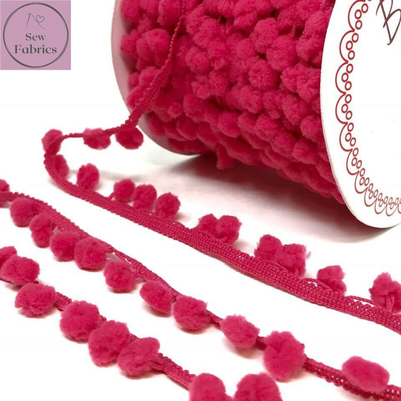 Bertie's Bows Fuchsia Pink 10mm Diameter Pom Pom Trim, Edging, Fringe, Braid, Craft, Pompom