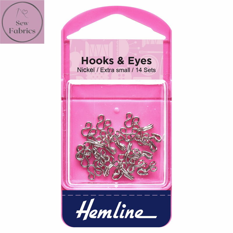 Hemline Nickel Coated Hooks and Eyes, Size 0, Extra Small, Pack of 14 sets