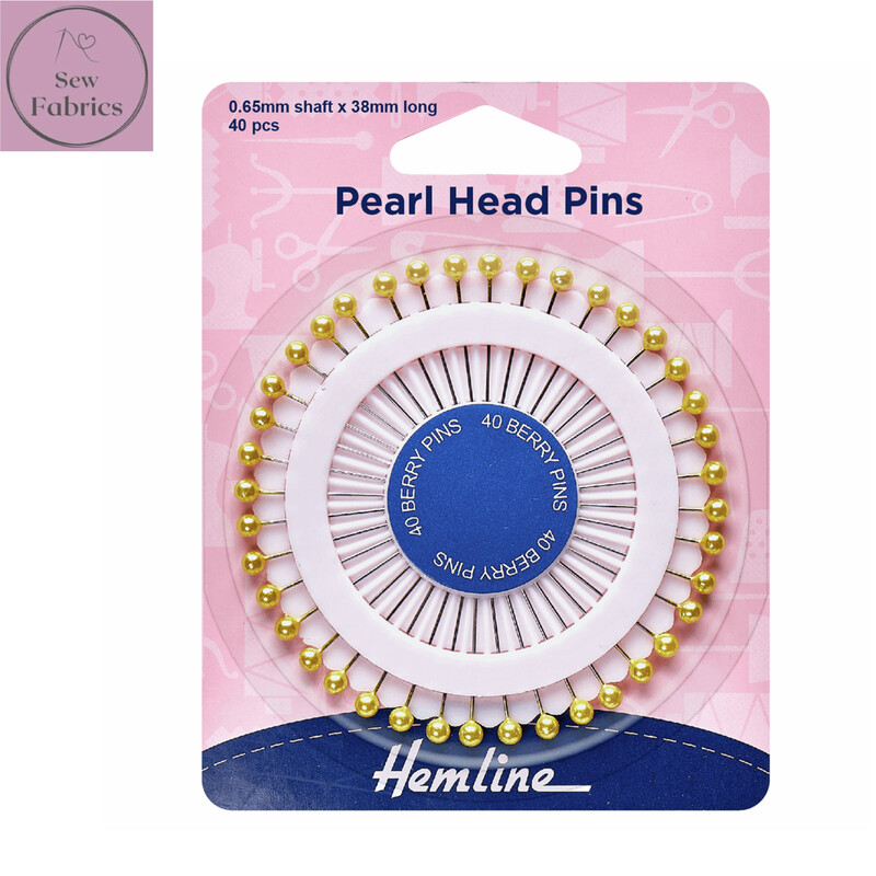 Hemline Assorted Pearl Head Pins, Gold 38mm, Pack of approx 40