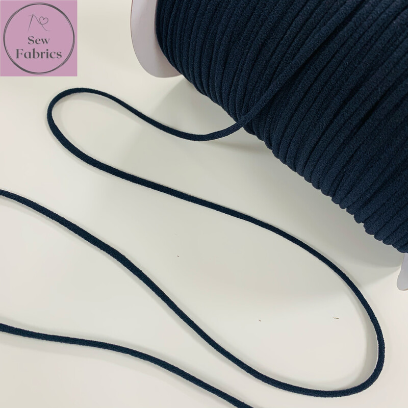 Bertie's Bows 3mm Black Soft Round Elastic, Ideal For Face Masks