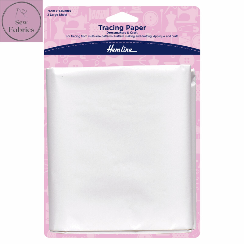 Hemline Tracing Paper, Plain, 3 large sheets, 76 x 102cms