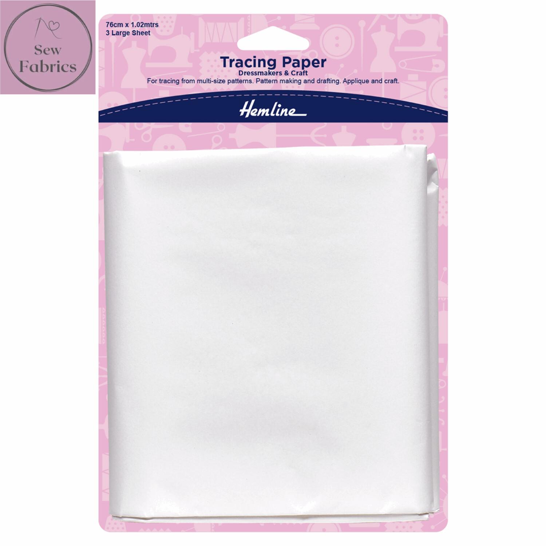 Hemline Tracing Paper, Plain, 3 large sheets, 76 x 102cms