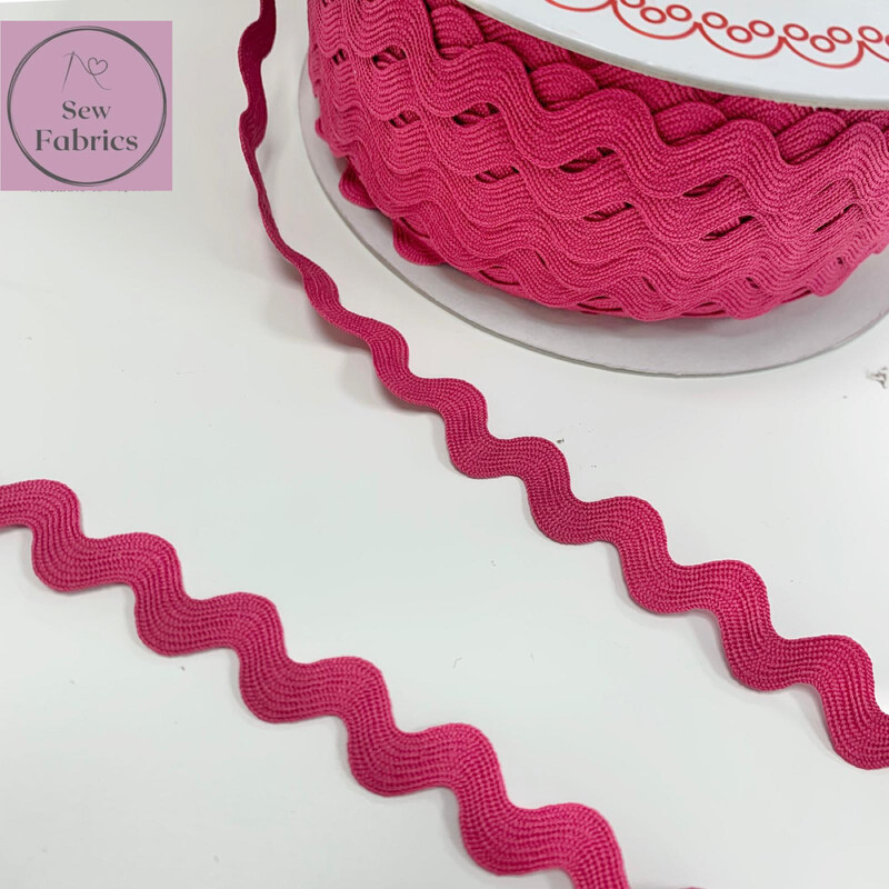 Bertie's Bows Fuchsia Pink 13mm Large Ric Rac Trim, Edging, Fringe, Braid, Craft