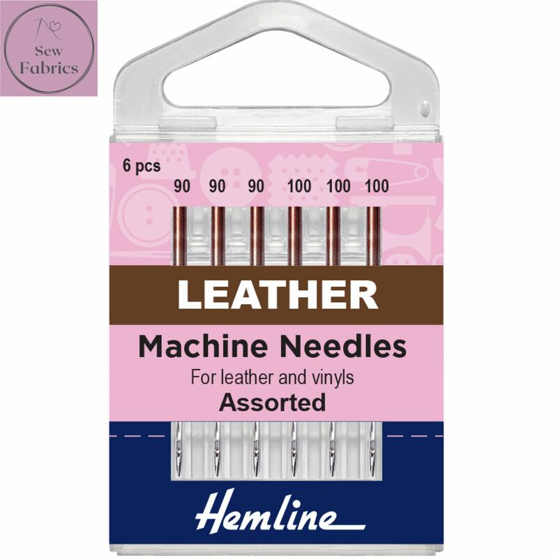 Hemline Leather Sewing Machine Needles, Pack of 6 Regular Assorted Needles