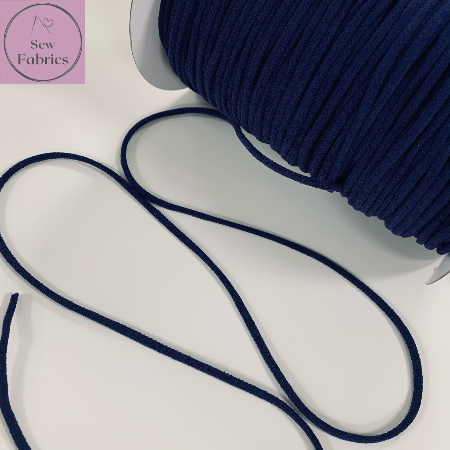 Bertie's Bows 137m / 150yd Reel of 3mm Navy Blue Soft Round Elastic, Ideal For Face Masks
