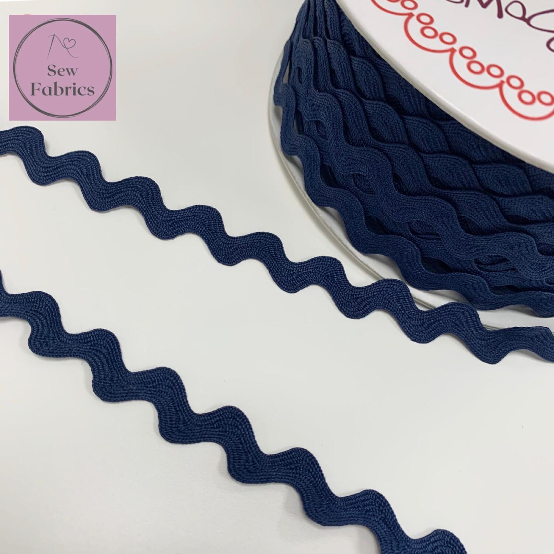 Bertie's Bows Navy Blue 13mm Large Ric Rac Trim, Edging, Fringe, Braid, Craft