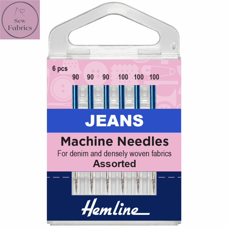 Hemline Mixed Jeans Sewing Machine Needles, Pack of 6