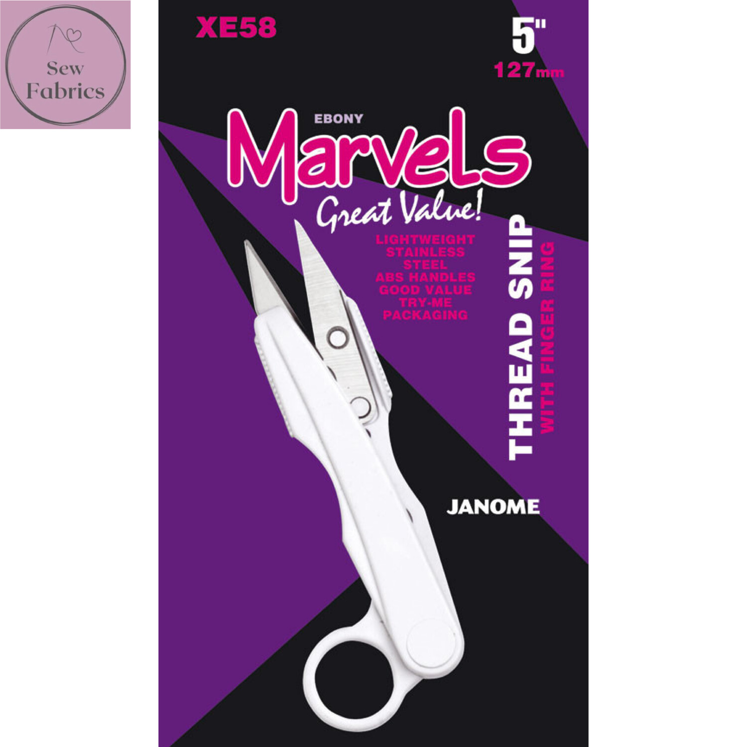 "Janome Marvels 5"" Thread Snips with finger hole"