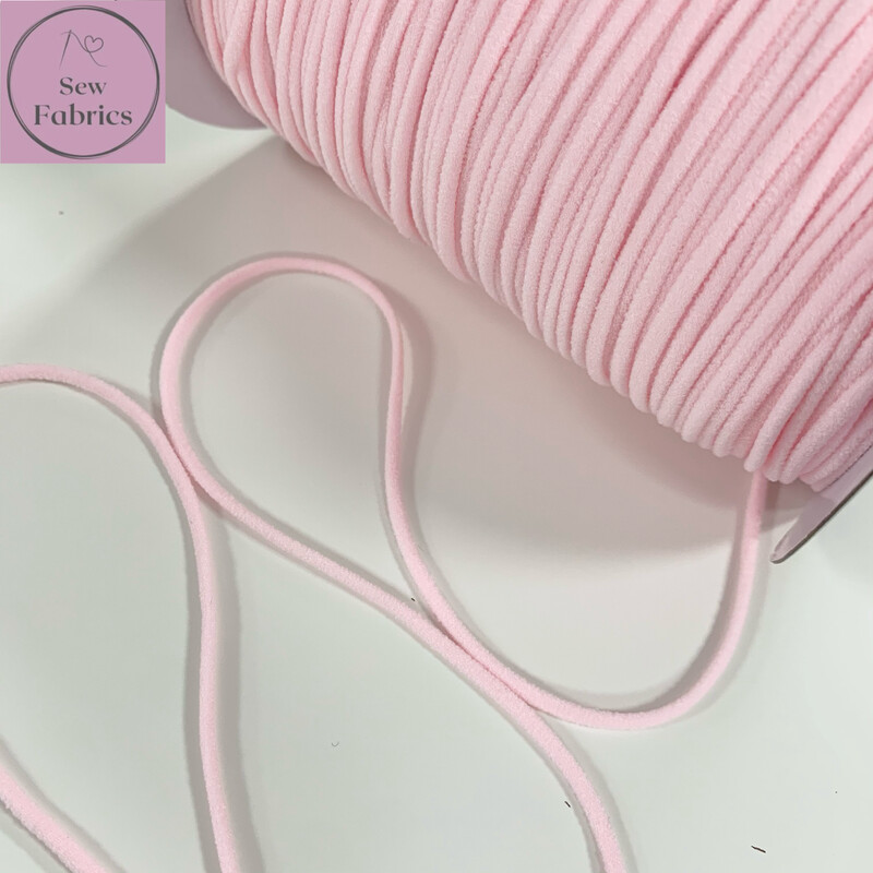Bertie's Bows 137m / 150yd Reel of 3mm Light Pink Soft Round Elastic, Ideal For Face Masks