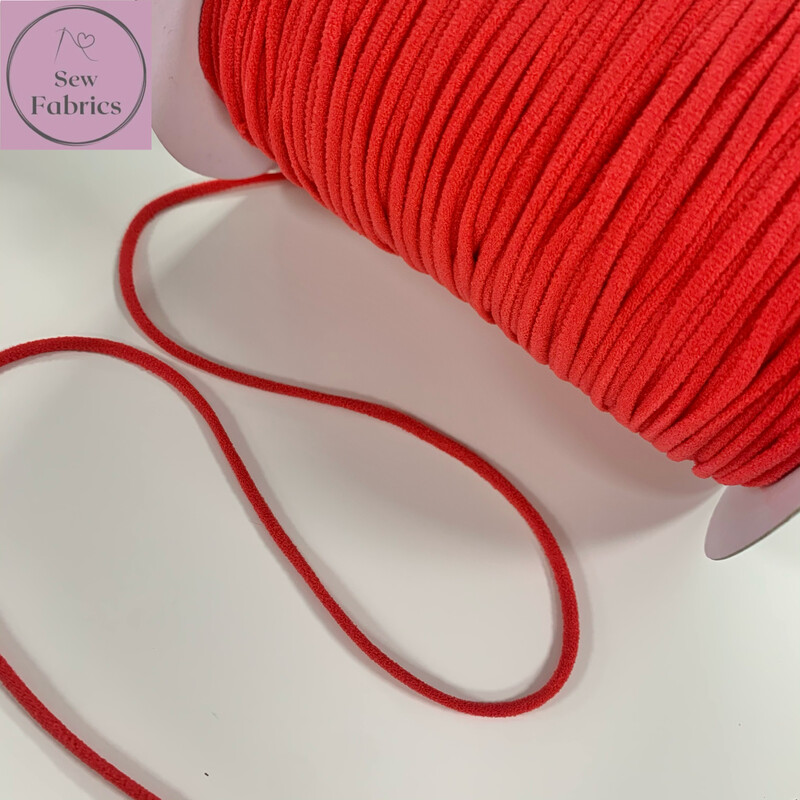 Bertie's Bows 137m / 150yd Reel of 3mm Red Soft Round Elastic, Ideal For Face Masks