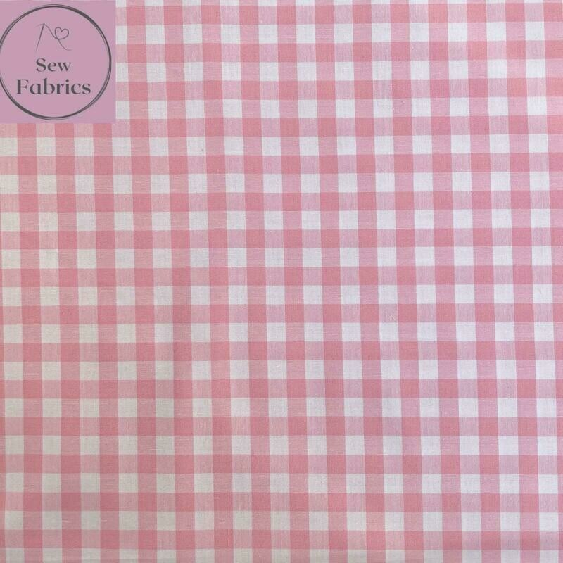 "John Louden Pink Gingham 1/3"" 100% Yarn Dyed Cotton Check Fabric"
