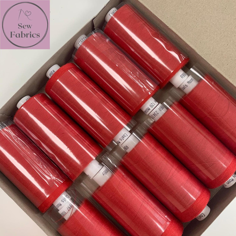 10 x 1000y Coats Moon Thread Box - Scarlet Red M046