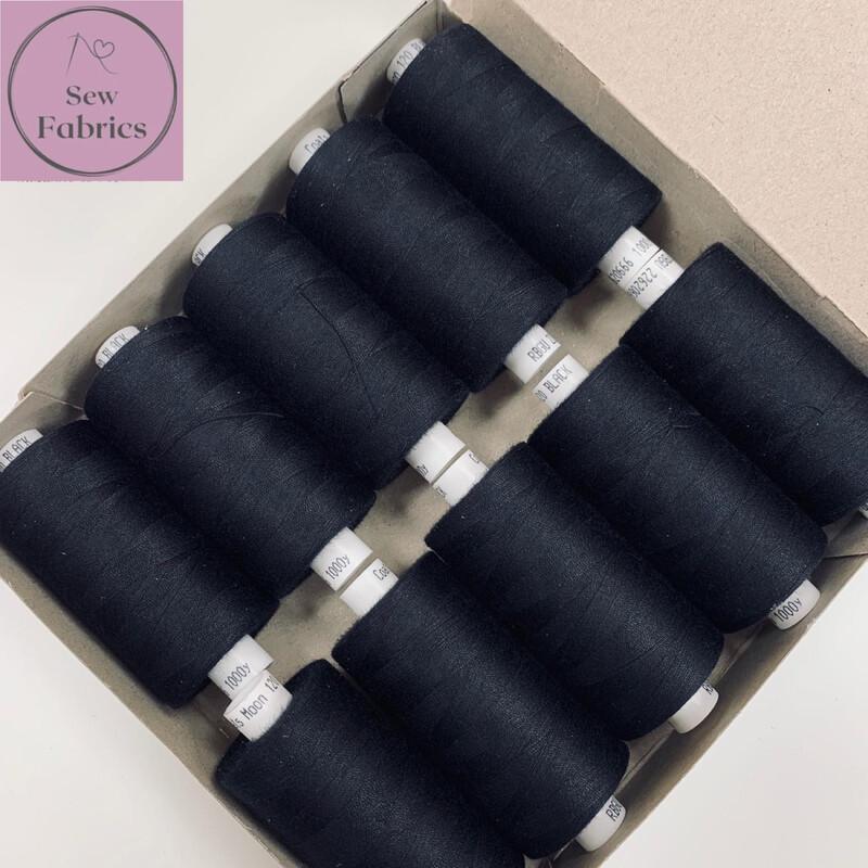 10 x 1000y Coats Moon Thread in Black