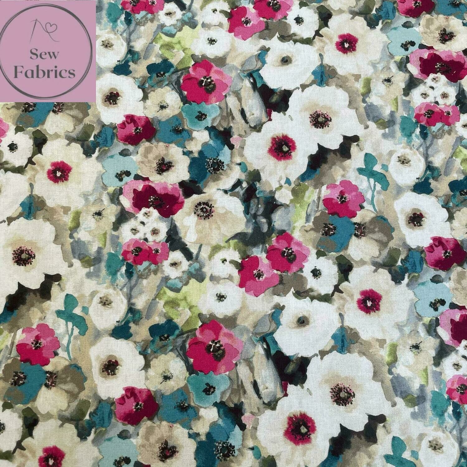 """John Louden Pink Watercolour Poppies Fabric 100% Cotton 60""""/150cm Width, Nature Poppy Material"""