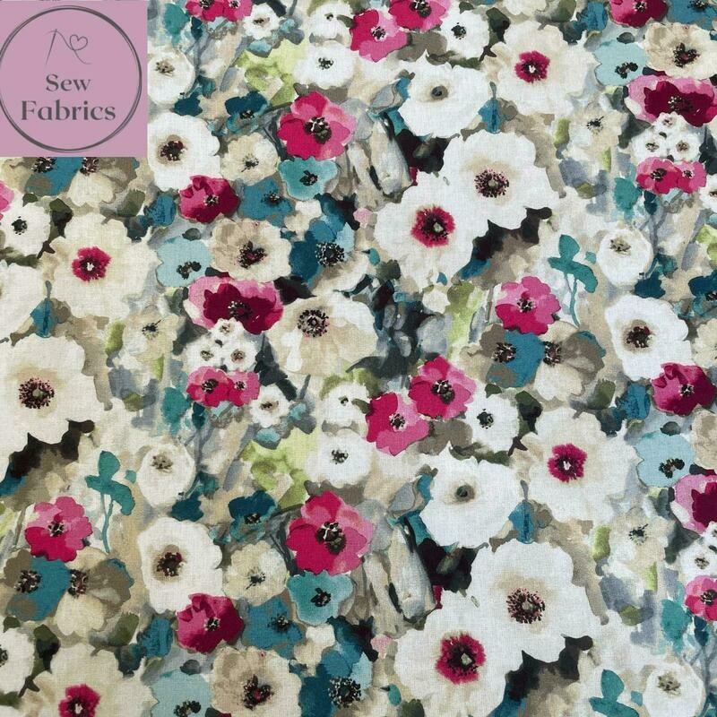 John Louden Pink Watercolour Poppies Fabric 100% Cotton 60