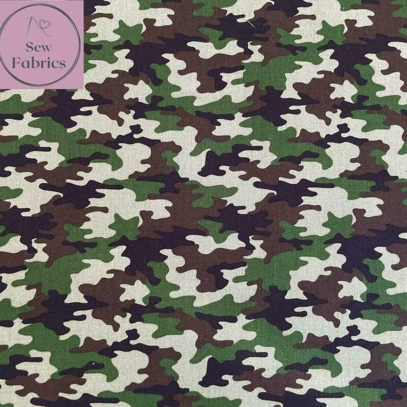 Khaki Green Camouflage Print 100% Cotton Poplin Fabric 60