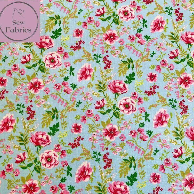 John Louden Blue Sweet Flowers Fabric 100% Cotton, 60